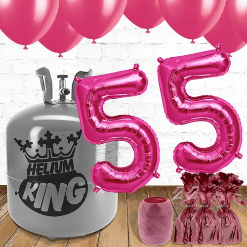 55 års Fødselsdag Lyserøde Balloner og Helium Pakke