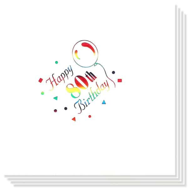 Happy 80th Birthday Festlige Servietter 33 cm - Pakke med 15