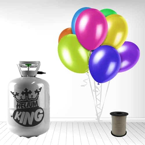 Helium og 30 Forskelligfarvede Balloner m. Bånd