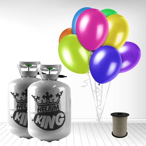 Helium og 60 Forskelligfarvede Balloner m. Bånd