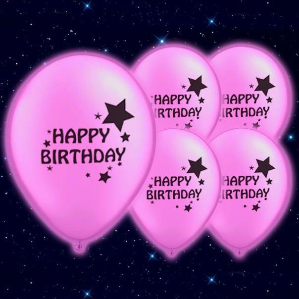 Selvlysende Lyserød Happy Birthday Illoom Ballon - Pakke med 5