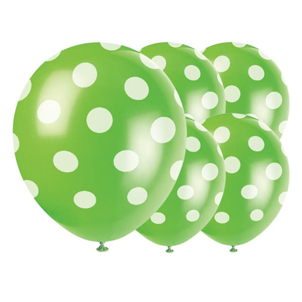 Lime Grøn med Prikker Miljøvenlig Latex Ballon - Pakke med 6