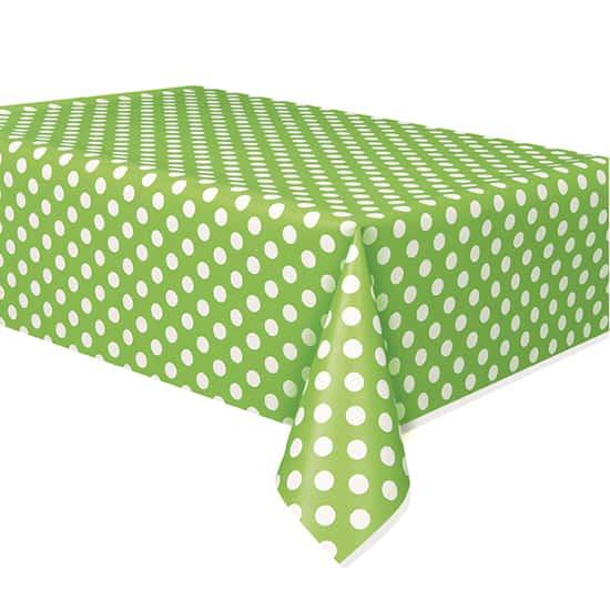 Lime Grøn med Prikker Plastik Dug - Single