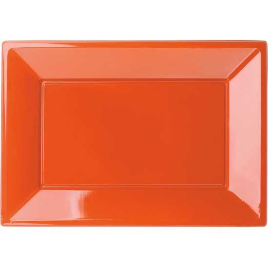Orange Firkantet Plastik Fad - Pakke med 3