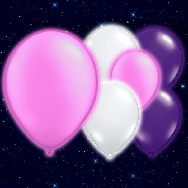Selvlysende Lyserøde Hvide og Lilla Illoom Balloner - Pakke med 15