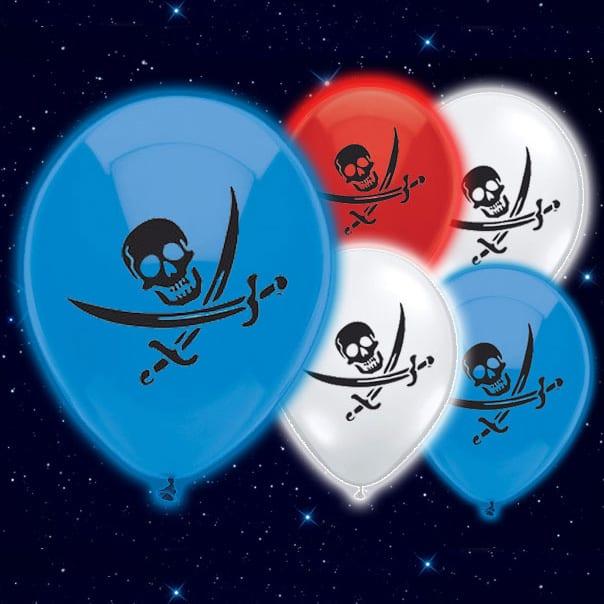 Selvlysende Pirat Sørøver Illoom Ballon - Pakke med 5