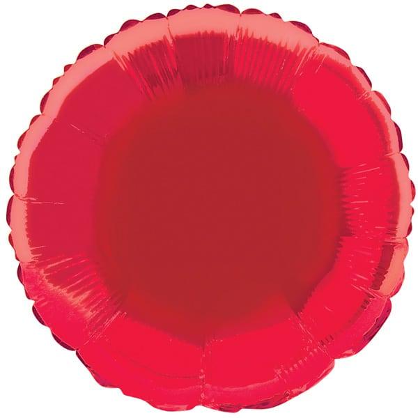 Rød Rund Folie Heliumballon - Single