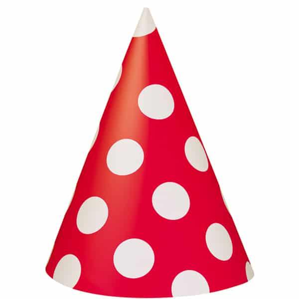 Rubin Rød med Prikker Fest Hat - Single