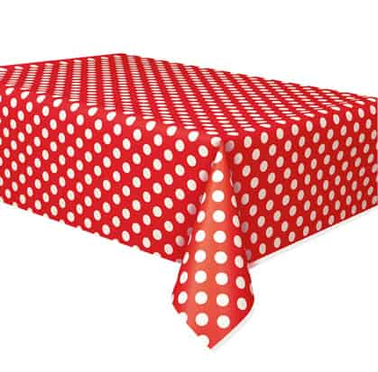 Rubin Rød med Prikker Plastik Dug - Single