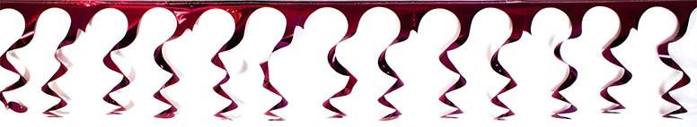 Mørkerød Spiral Folie Guirlande - Pakke med 5