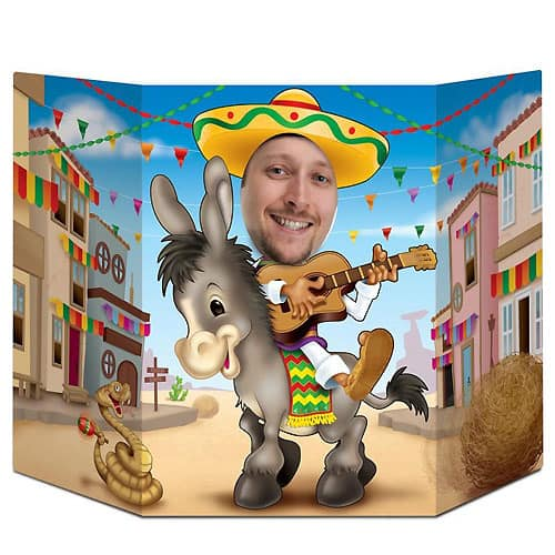 Mexicansk Fiesta Foto Rekvisit m Hul til Ansigt 64 cm