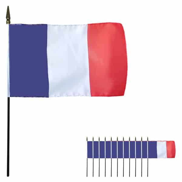 Frankrig Håndholdt Stof Flag - Pakke med 12