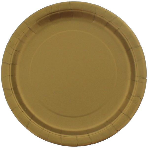 Guld Paptallerken 22 cm - Single