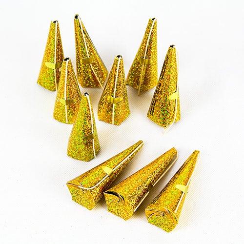 Guld Metallic Holografiske Trækbomber - Pakke med 10