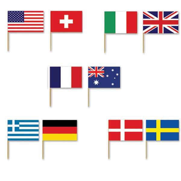 Internationale Flag Sandwich Pinde - Pakke med 50