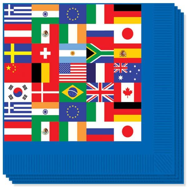 Internationale Flag Servietter - Pakke med 16