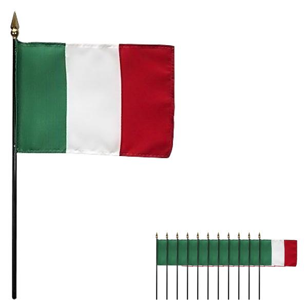 Italien Håndholdt Stof Flag - Pakke med 12