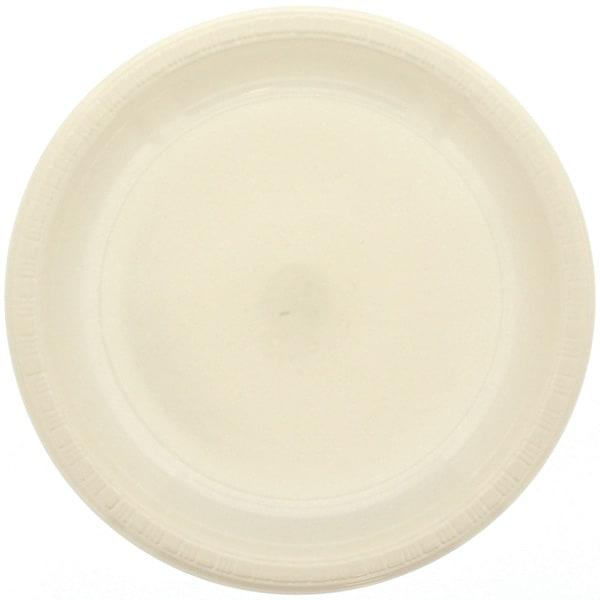 Cremefarvet Plastik Tallerken - Single