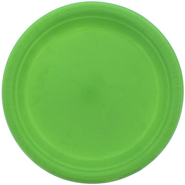Limegrøn Plastik Tallerken - Single
