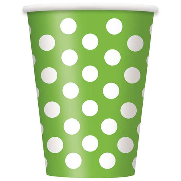 Lime Grøn med Prikker Pap Kop - Single