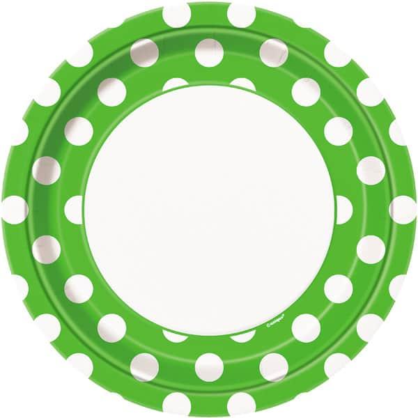 Lime Grøn med Prikker Pap Tallerken - Single