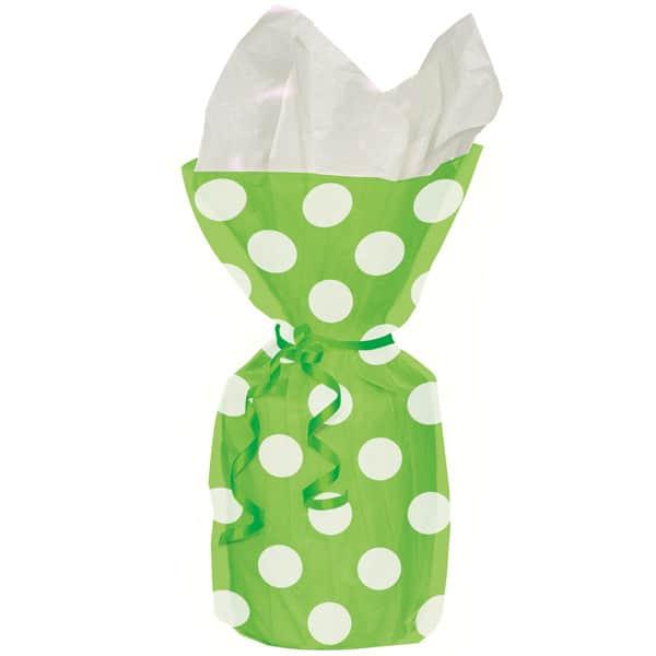 Lime Grønne Gave Poser med Prikker - Pakke med 20