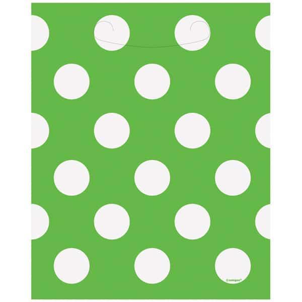 Lime Grøn Fest Pose med Prikker - Pakke med 8