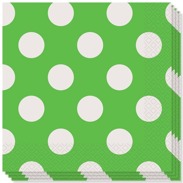 Lime Grøn med Prikker Servietter - Pakke med 16
