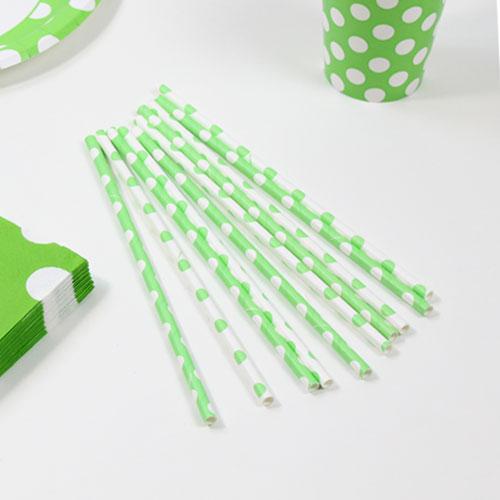 Lime Grønne Sugerør med Prikker - Pakke med 10