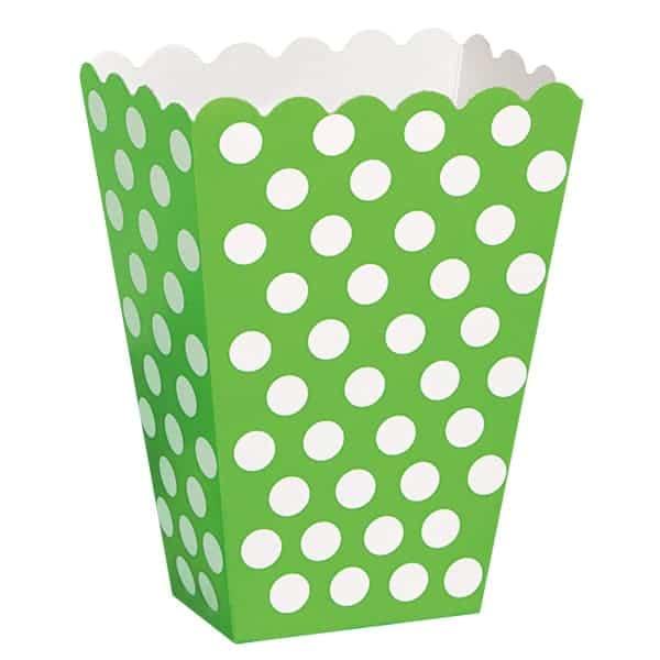 Lime Grøn med Prikker Pap Bæger - Pakke med 8