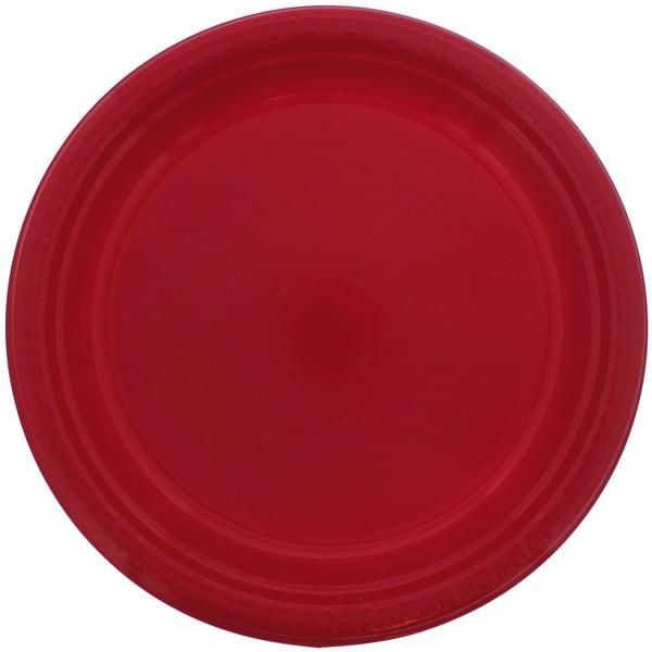 Rød Plastik Tallerken - Single