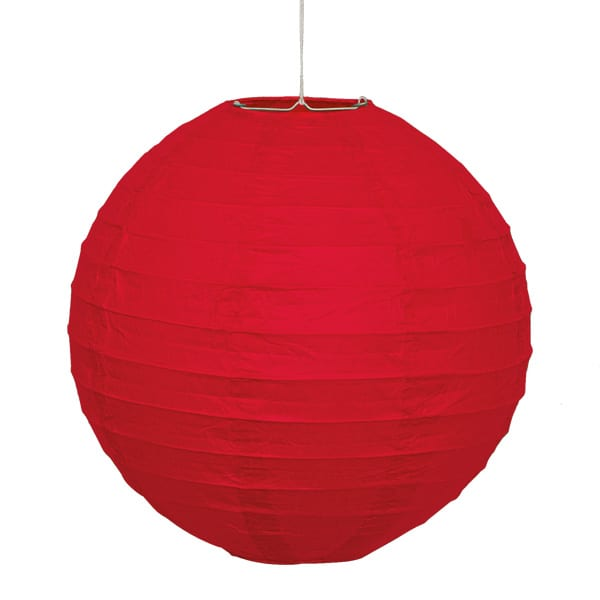 Rød Rund Papir Lanterne - Single