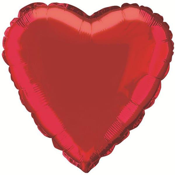Rød Hjerte Folie Ballon - Single