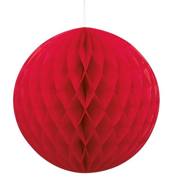 Rød Vaffelmønster Kugle Dekoration - Single