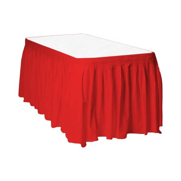 Rødt Plastik Bord Skørt - Single