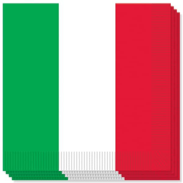 Italiensk Flag Servietter - Pakke med 16