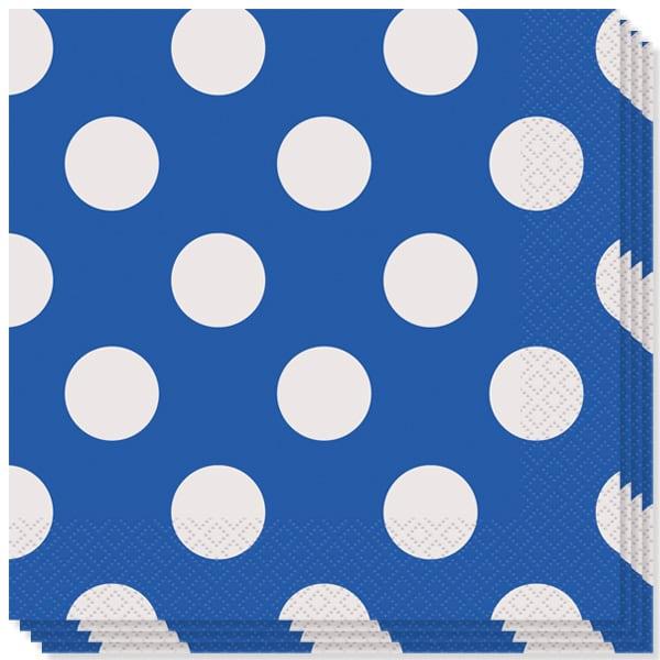 Blå med Prikker Servietter - Pakke med 16