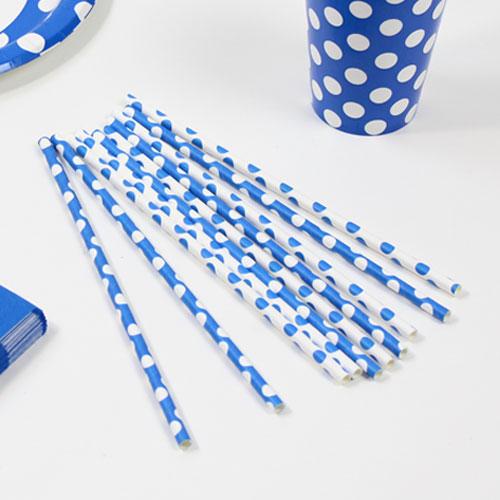 Blå med Prikker Sugerør - Pakke med 10
