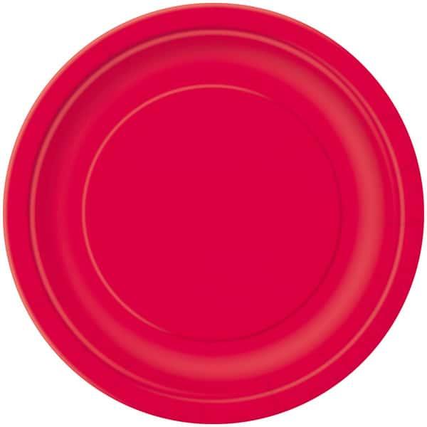 Rød Paptallerken 22 cm - Single