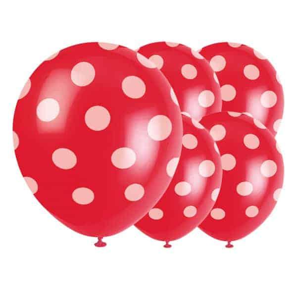 Rubin Rød med Prikker Miljøvenlig Latex Ballon - Pakke med 6