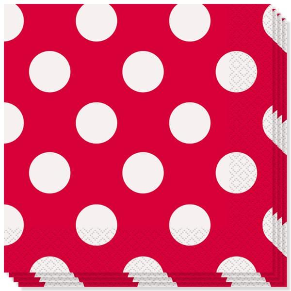 Rubin Rød med Prikker Servietter - Pakke med 16