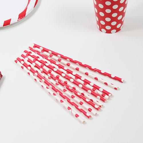 Rubin Røde Sugerør med Prikker - Pakke med 10