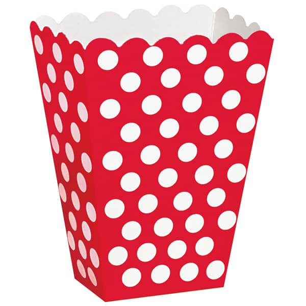 Rubin Rød med Prikker Pap Bæger - Pakke med 8