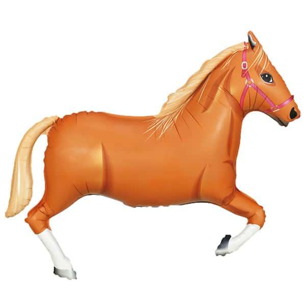 Lysebrun Hest Kæmpe Folie Ballon - Single