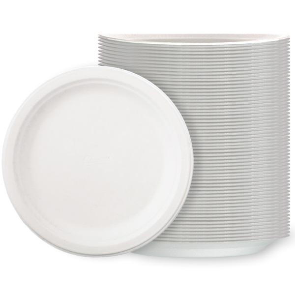 Hvide Polystyren Tallerkener Large - Pakke med 125