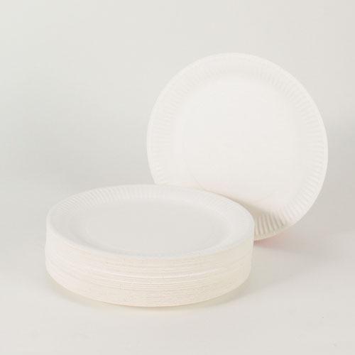 Hvid Pap Tallerken Large - Pakke med 100