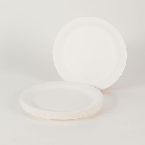 Hvid Paptallerken Large - Pakke med 30