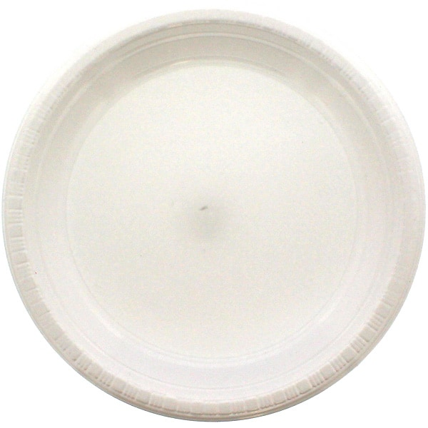 Hvid Plastik Tallerken - Single
