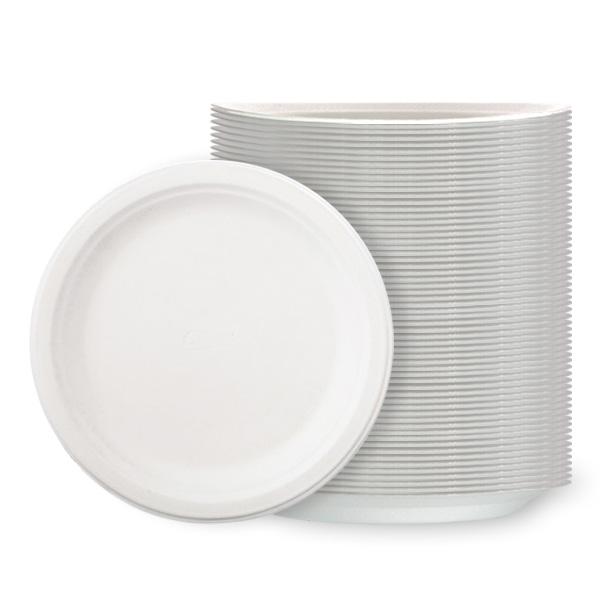 Hvide Polystyren Tallerkener Medium - Pakke med 125