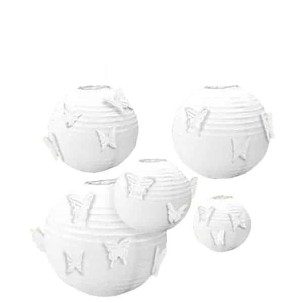 Hvid Rund Papir Lanterne med Sommerfugle - Pakke med 5